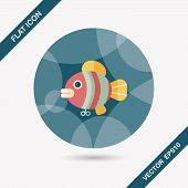 Fish Toy Flat Icon With Long Shadow,eps 10