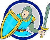Medieval Knight Shield Sword Circle Cartoon