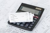 stock photo of receipt  - Photo Of Calculator On Generic Receipts With Costs - JPG