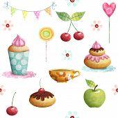 Happy Birthday pattern made of cupcake,cherry, apple, candies,flowers.Birthday background.