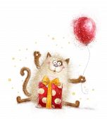 Постер, плакат: Cute cat Birthday invitation Birthday party Cat with gift and balloon