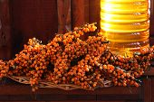 Sea-buckthorn Berries And Bank Of Oil From Sea-buckthorn Berries