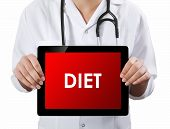 Doctor Showing Tablet With Diet Text.