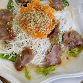 Pork Grilled With Rice Noodle And Vegetable, Vietnamese Typical Cuisine.