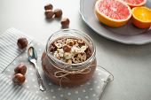 Buckwheat Porridge With Cocoa, Hazelnuts And Banana