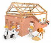 3D White People. Construction Workers Building A House