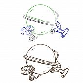 Separate Image Retro Round Vacuum Cleaner Made In The Thumbnail Style