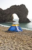 camping tent on beach at Lulworth England.