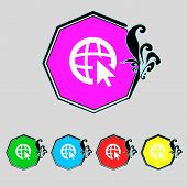 Internet Sign Icon. World Wide Web Symbol. Cursor Pointer. Set Colourful Buttons Vector