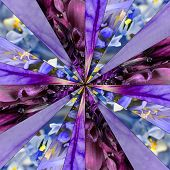 Purple Flower Center Collage Geometric Pattern