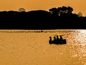 stock photo of pedal  - silhouette couple in swan pedal boat on sunset at parkThailand - JPG