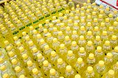 Bottle With Cooking Oil In A Supermarket