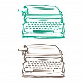 Isolated Image Of A Vintage Mechanical Typewriter Made In The Thumbnail Style
