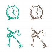 Isolated Image Of Retro Pocket Watch And Keys Made In The Thumbnail Style