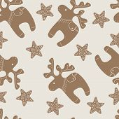 Pattern With Christmas Reindeer And Star Cookies