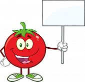 Red Tomato Cartoon Mascot Character Holding Up A Blank Sign