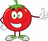 Smiling Tomato Cartoon Mascot Character Giving A Thumb Up