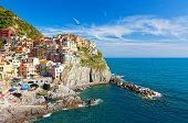 Manarola village on cliff rocks and sea