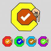 Check Mark Sign Icon. Checkbox Button. Set Colourful Buttons. Vector