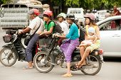 Many Motorbikes Are On The Road In Myanmar.