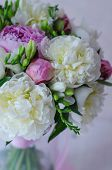 stock photo of marriage decoration  - Bride bouquet of wedding flowers white peony - JPG