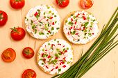 image of vegetarian meal  - Vegetarian meal with crispy buns cottage cheese and vegetables - JPG