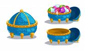 stock photo of gem  - Little cartoon blue casket closed empty and full of gems isolated on white - JPG