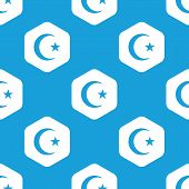 stock photo of crescent-shaped  - Blue image of crescent moon with star with in white hexagon - JPG