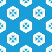 stock photo of maltese-cross  - Blue image of maltese cross in white hexagon - JPG