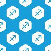 pic of sagittarius  - Blue image of sagittarius zodiac symbol in white hexagon - JPG