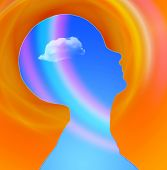 Human Head with cloud and rainbow free mind poster