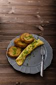 picture of french toast  - French omelette with chives fresh herbs and garlic toast - JPG