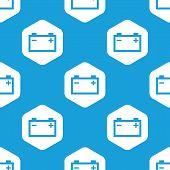 stock photo of accumulative  - Blue image of accumulator in white hexagon - JPG
