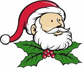 pic of nicholas  - Cartoon style illustration of santa claus saint nicholas father christmas head looking to the with christmas holly set on isolated white background - JPG