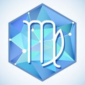 picture of virgo  - Zodiac sign and constellation Virgo into hexagonal frames on low poly background - JPG