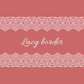 picture of doilies  - Ornamental red lace pattern doily border - JPG