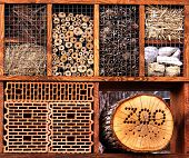 stock photo of insect  - Insect hotel made from the natural materials for various insect to colonize and protect - JPG