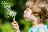 stock photo of blowing  - Kid blowing dandelion outdoor on sky background - JPG