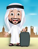 stock photo of arab man  - Realistic 3D Handsome Saudi Arab Man Wearing Thobe Standing Happy With Traveling Bag in Middle East City - JPG