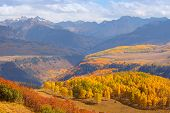 stock photo of rocky-mountains  - Colorful landscape of San Juan mountains in autumn - JPG
