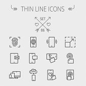 image of internet icon  - Technology thin line icon set for web and mobile - JPG