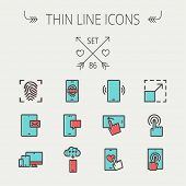 pic of fingerprint  - Technology thin line icon set for web and mobile - JPG