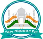 pic of indian independence day  - illustration of wavy Indian flags with monument - JPG