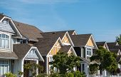 stock photo of row houses  - A row of a new houses in Richmond British Columbia - JPG