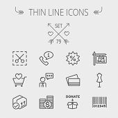 Business shopping thin line icon set for web and mobile. Set includes- stack of coins, cart with hea poster