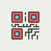 picture of qr-code  - QR code icon thin line for web and mobile - JPG
