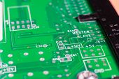 stock photo of transistor  - micro electronics main board with processors diodes transistors - JPG