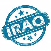 image of iraq  - Round rubber stamp with word IRAQ and stars - JPG
