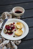 picture of vinegar  - sheep cheese with berry sauce nuts and balsamic vinegar - JPG