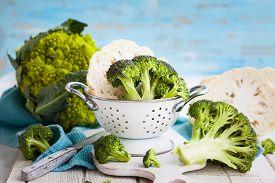 stock photo of romanesco  - Various types of cabbage - JPG
